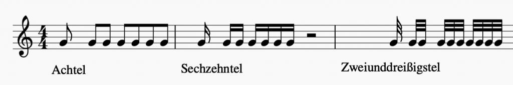Bild: Tonlängen von Achtel, Sechzehntel und Zweiunddreißigstel   Sunset Music