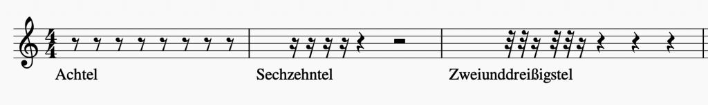 Bild: Pausenlängen (Achtel, Sechzehntel, Zweiunddreißigstel)   Sunset Music