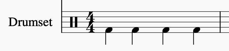 Notation: Kick spielt 4 Viertelnoten
