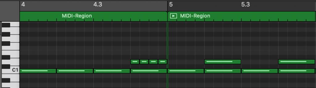 Bild: Takt 4 und 5 mit Snarewirbel als MIDI (GarageBand)