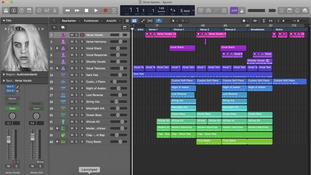 Demo Projekt von Billie Eilish - Ocean Eyes in Logic Pro X   Sunset Music