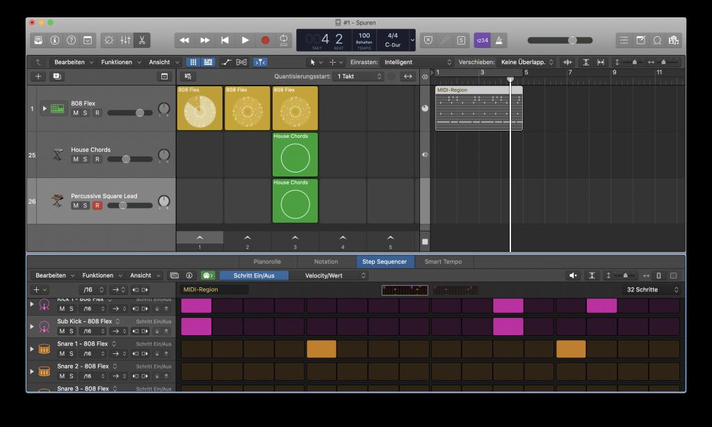Logic Pro X Live Loop in Spur kopiert - Sunset Music