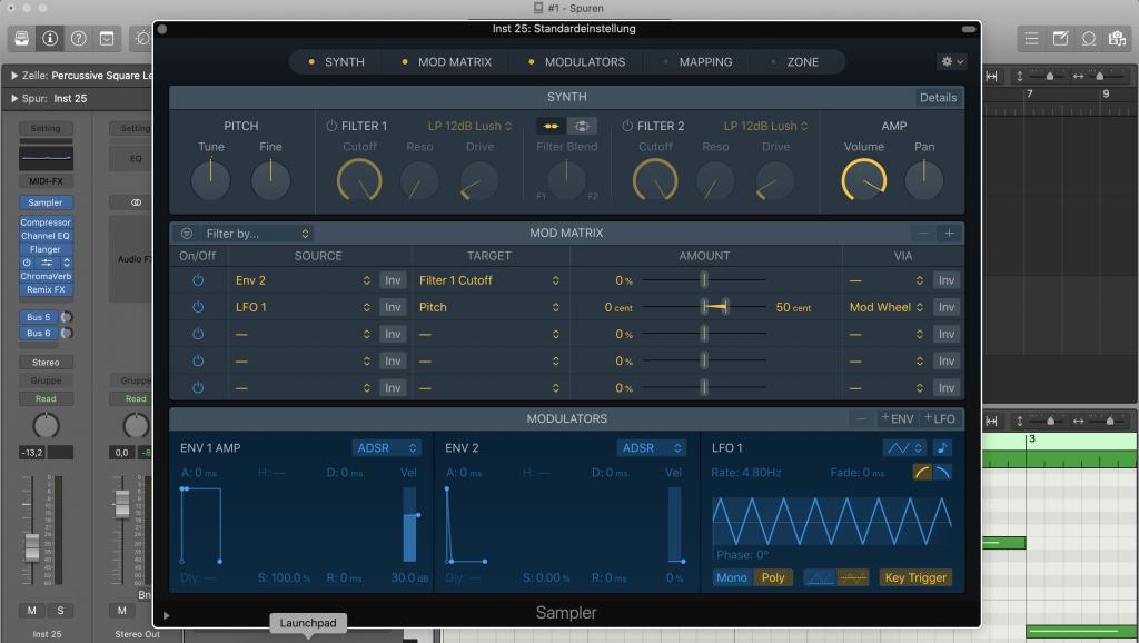 Plugin Sampler in Logic Pro X - Sunset Music